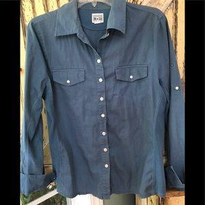 Converse All Star blue grey button down blouse XL
